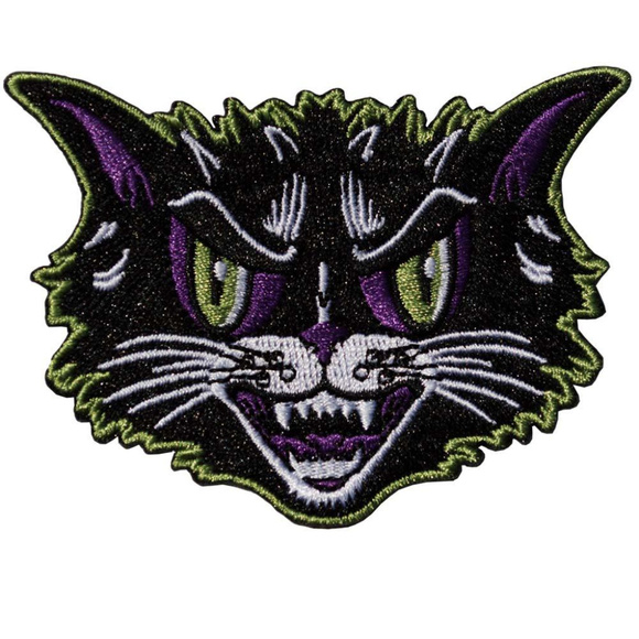 Kreeps Accessories - Black Cat Iron On Patch Hissing Hiss Goth Horror
